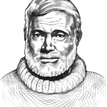 Illustration E. Hemingway (für das Lokal dieses Namens)
